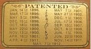 Patent Decal found on some models including The Jefferson