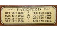 Patent Decal for Home model Brunswick tables (3 in. x 1 in.)